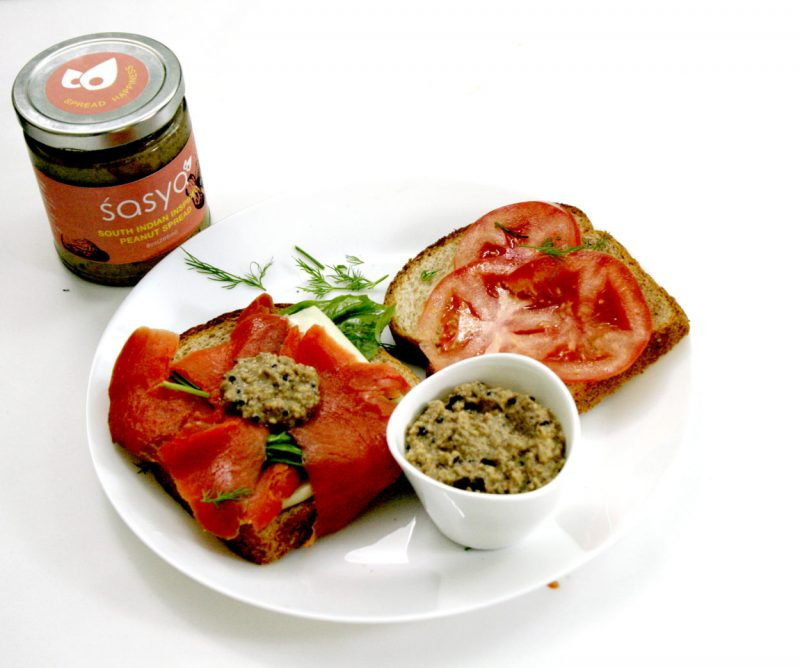 Image of smoked salmon sandwich with Sasya Peanut Spread