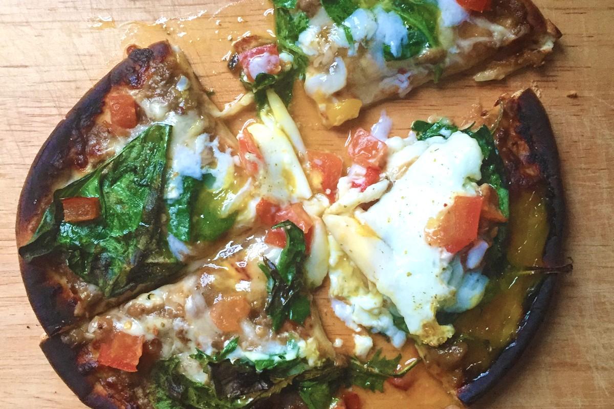 Eggplant Amp Spinach Breakfast Pita Pizza Sasya