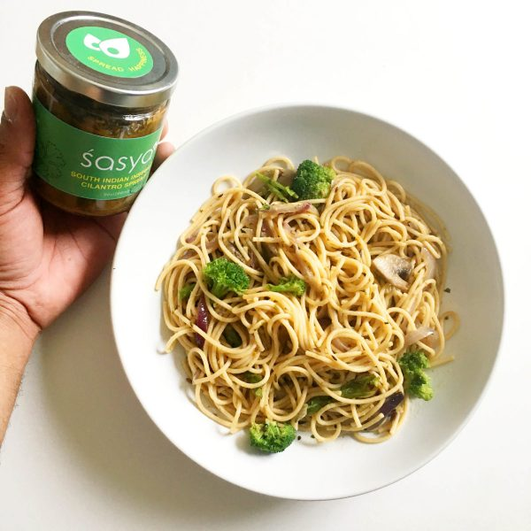 Picture of Pasta-Cilantro-Broccoli-Mushroom-Sasya with sasya jar