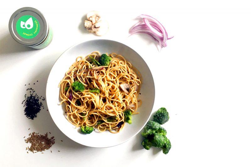 Pasta-Sasya-Cilantro-Broccoli-Mushroom