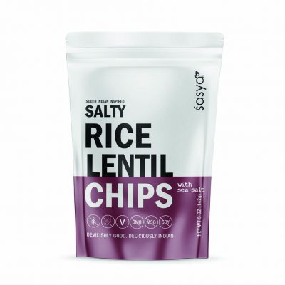 Sasya Salty Rice Lentil Chips with Sea Salt - Healthy snacks, with an Indian twist